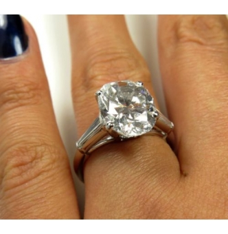 5.21ct Estate Vintage Solitaire Oval Cut Diamond Engagement Wedding Ring in Platinum EGL USA