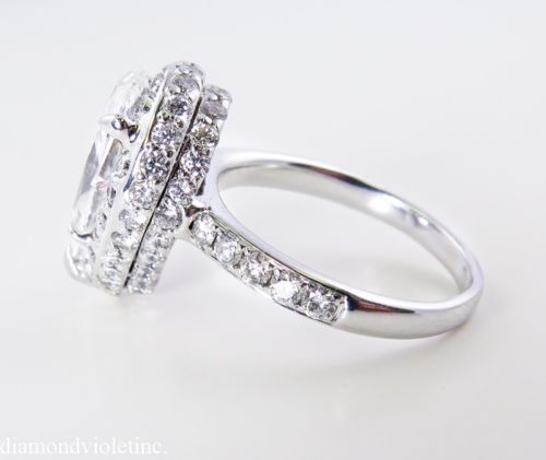 GIA 3 60CT Estate Vintage Pear Shape Diamond Engagement Wedding Ring in14k Wh