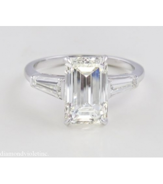 gia 379ct estate vintage solitaire emerald cut diamond engagement wedding ring in platinum - Emerald Cut Wedding Ring