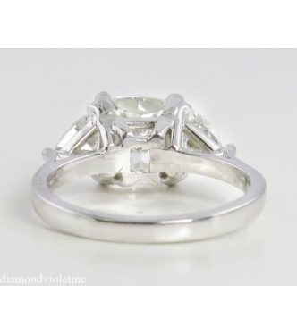 GIA 3.20ct Estate Vintage Cushion Diamond Engagement Wedding Ring Plat
