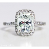 3.02ct Estate Vintage Solitaire Radiant Diamond Engagement Wedding Ring Platinum EGL
