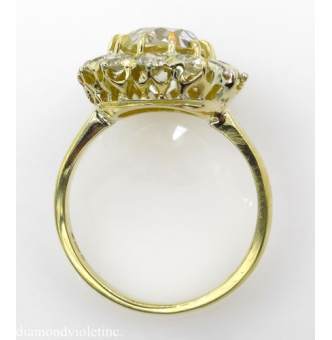 GIA 4.70ct Antique Victorian CIRCA 1890s Old Mine Cushion Diamond Cluster Engagement Wedding 18k Yellow Gold Ring