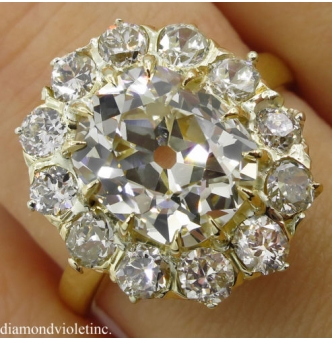 4.67ct Antique Victorian CIRCA 1890s Old Mine Cushion Diamond Cluster Engagement Wedding 18k Yellow Gold Ring EGL USA