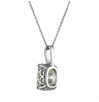 RESERVED... GIA 3.32ct Antique Vintage Old Mine Cushion Diamond Pendant 14k White Gold