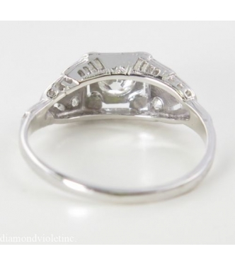 0.62ct Antique Vintage Art Deco Old European Diamond Engagement Wedding Ring in 18k White Gold Gemologic