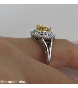 GIA 2.63ct Estate Vintage Fancy Brownish Yellow Diamond Engagement Wedding Ring 14k White Gold
