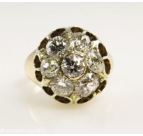 3.15ct Antique Vintage Victorian Diamond Cluster Engagement Ring 18k Yellow Gold EGL USA