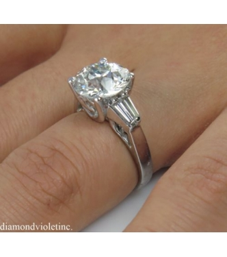 4.19ct Estate Vintage Old Euro Diamond Engagement Wedding Ring Platinum