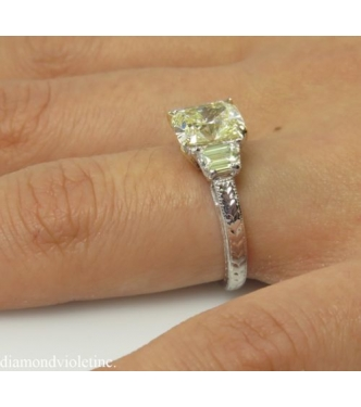 2.77ct Estate Vintage Light Yellow Cushion Diamond Engagement Wedding Ring Platinum and 18k Yellow Gold EGL USA