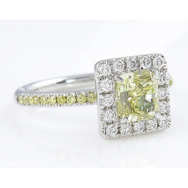 GIA 1.55ct Estate Vintage Fancy Yellow Radiant Diamond Engagement Wedding Ring Platinum