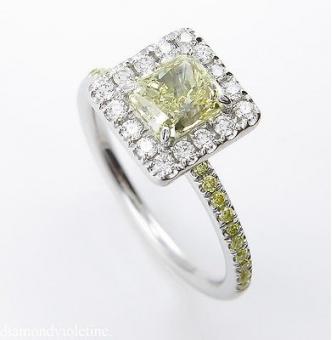 GIA 1.55ct Estate Vintage Fancy Yellow Radiant Diamond Engagement Wedding Ring Platinum