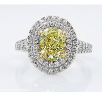 GIA 2.78ct Estate Vintage Fancy Yellow Oval Diamond Engagement Wedding Ring Platinum