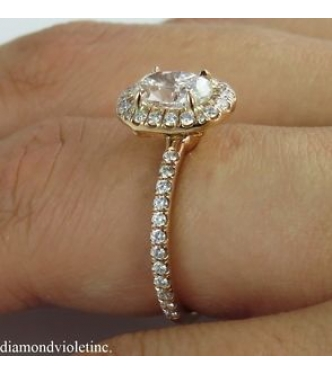 GIA 1.50ct Estate Vintage Oval Diamond Engagement Wedding Ring 14k Rose Gold