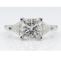2.61ct Estate Vintage Princess Diamond Three Stone Engagement Wedding Platinum Ring