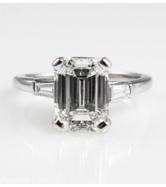 GIA 2.51ct Estate Vintage Solitaire Emerald Cut Engagement Wedding Ring Platinum