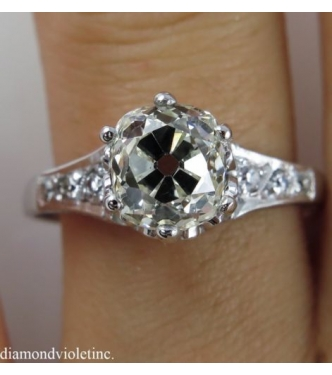 1.89ct Antique Vintage Early Art Deco Old Mine Cushion Diamond Engagement Wedding Ring 14k White Gold