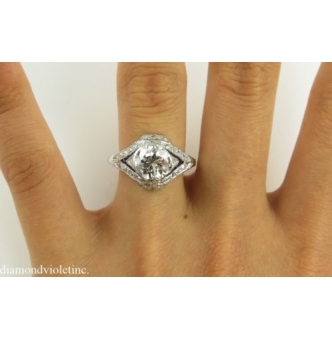 2.35ct Vintage Early Art Deco Old Euro Diamond Engagement Wedding Ring Platinum EGL USA