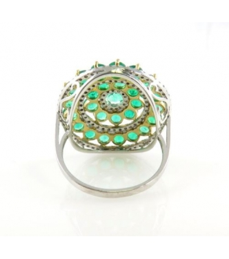 6.50ct Estate Vintage Green Emerald Diamond Cluster Right Hand Ring 18k White Gold EGL USA