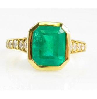 GIA 3.62ct Estate Vintage Rectangular Green Emerald Engagement Wedding Ring 18k Yellow Gold