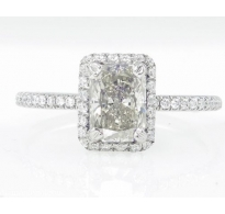 1.49ct Estate Vintage Radiant Diamond Engagement Wedding Ring Platinum EGL USA