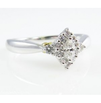 0.50ct Estate Vintage Marquise Diamond Halo Engagement Wedding Ring 14k White Gold and 24k Yellow Gold