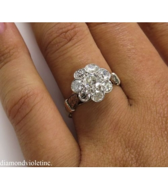 1.65ct Antique Victorian Old Euro Diamond Cluster Engagement Ring Rose Gold and Platinum EGL USA