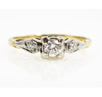0.34Ct  Antique Vintage Art Deco CIRCA 1930s Round Diamond Engagement Wedding Ring 14k Yellow Gold
