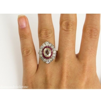 2.11ct Antique Vintage Oval Diamond Ruby Engagement Wedding Right Hand Cluster Ring 18k Yellow Gold EGL USA