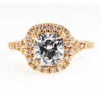 GIA 1.76ct Estate Vintage Cushion Diamond Engagement Wedding 18k Rose Gold Ring
