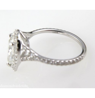 GIA 1.61ct Estate Vintage Pear Diamond Engagement Wedding Halo 18k White Gold Ring