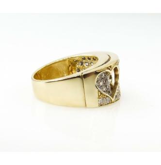 Estate Vintage CZ Heart Wedding Anniversary Ring Band 9k