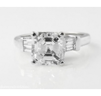 2.24ct Estate Vintage Asscher Diamond Engagement Wedding Platinum Ring EGL USA
