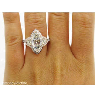 4.01ct Estate Vintage Marquise Diamond Three Stone Engagement Wedding 14k Gold Ring EGL USA