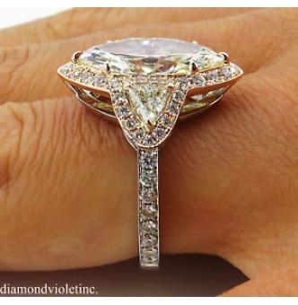 4.01ct Estate Vintage Marquise Diamond Three Stone Engagement Wedding 14k Gold Ring EGL USA