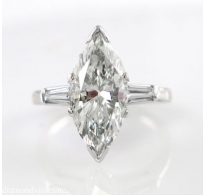 3.01ct Estate Vintage Marquise Diamond Engagement Wedding Platinum Ring EGL USA