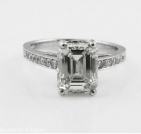 2.31ct Estate Vintage Emerald Cut Diamond Engagement Wedding Platinum Ring
