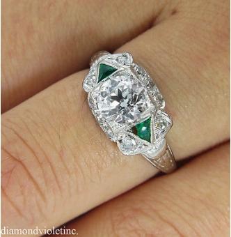 RESERVED... GIA 1.00ct Antique Vintage Edwardian Old Euro Diamond Engagement Wedding Ring Platinum