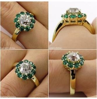 1.82ct Estate Vintage Old European Diamond Cluster Engagement Wedding 18k Yellow Gold Ring
