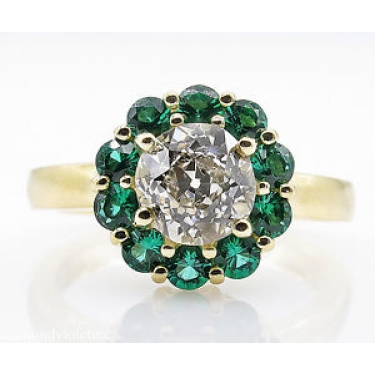 1.82ct Estate Vintage Old European Diamond Cluster Engagement Wedding 18k Yellow Gold Ring
