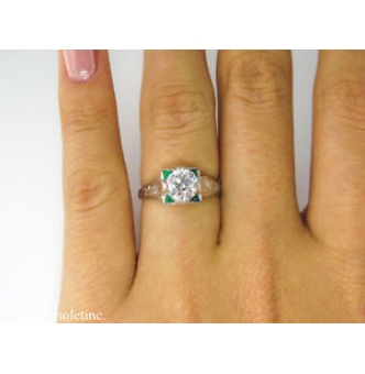 1.34ct Antique Vintage Solitaire Old Euro Diamond Engagement Wedding 14k White Gold Ring EGL USA