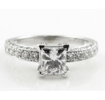 D/VVS2 GIA 2.85ct Estate Vintage Princess Diamond Engagement Wedding 18k White Gold Ring