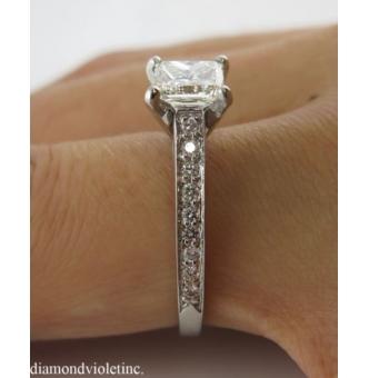 1.59ct Estate Vintage Princess Diamond Engagement Wedding 18k White Gold Ring EGL USA