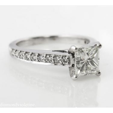 1.59ct Estate Vintage Princess Diamond Engagement Wedding 18k White Gold Ring EGL USA