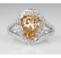 3.03ct Estate Vintage Fancy Cognac Pear Diamond Engagement Wedding Platinum Ring EGL USA