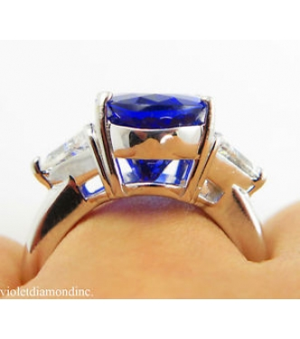 GIA 8.98ct Estate Vintage Oval Tanzanite Diamond Engagement Wedding 18k White Gold Ring