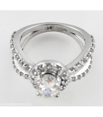 1.55ct Estate Vintage Oval Diamond Engagement Wedding 14k White Gold Ring EGL USA