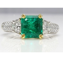 GIA 3.01ct Estate Vintage Natural COLOMBIAN Green Emerald Diamond Engagement Wedding 18k White Gold Ring
