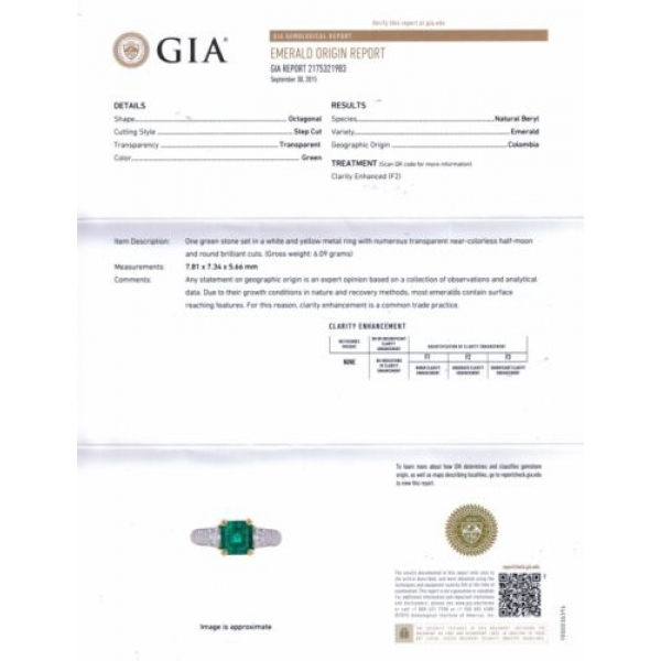 Gia 3 01ct Estate Vintage Natural Colombian Green Emerald