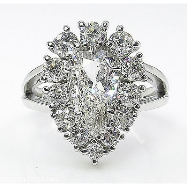 2.13ct Estate Vintage Pear Diamond Cluster Engagement Wedding Platinum Ring EGL USA
