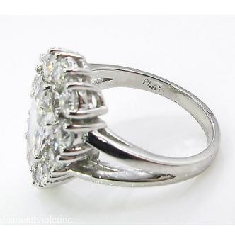 2.13ct Estate Vintage Pear Diamond Cluster Engagement Wedding Platinum Ring EGL USA